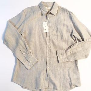 UNIQLO pale gray linen shirt NWT size L